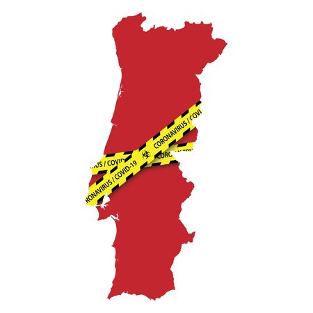 Map of Portugal with warning quarantine yellow tape. Danger coronavirus Banner 스톡 콘텐츠 - 143036749