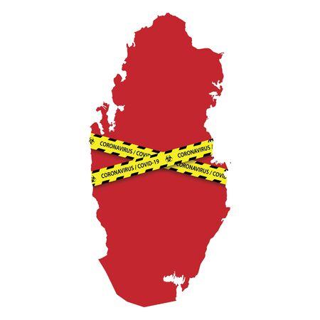 Map of Qatar with warning quarantine yellow tape. Danger coronavirus Banner