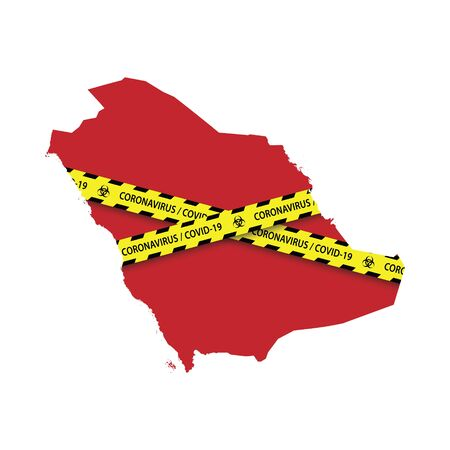 Map of Saudi Arabia with warning quarantine yellow tape. Danger coronavirus Banner Vettoriali