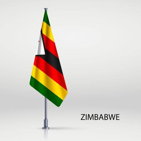 Zimbabwe hanging flag on flagpole