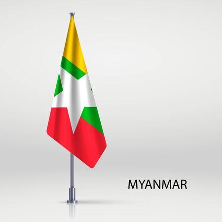 Myanmar hanging flag on flagpole