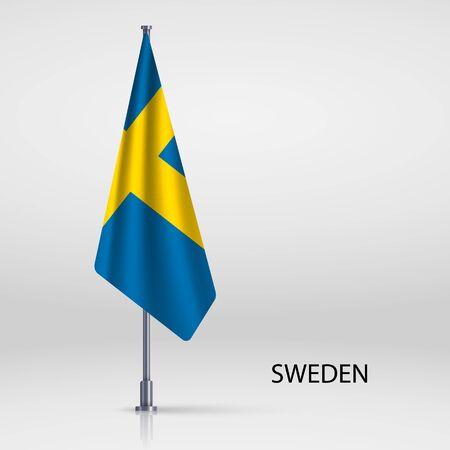 Sweden hanging flag on flagpole