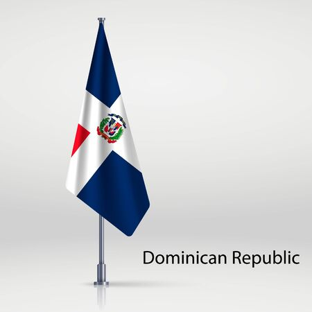 Dominican Republic hanging flag on flagpole 矢量图像