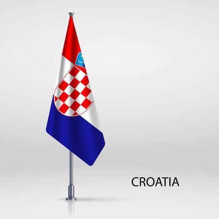 Croatia hanging flag on flagpole