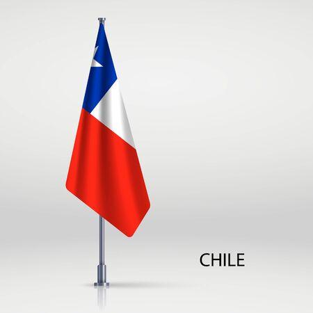 Chile hanging flag on flagpole Ilustracja