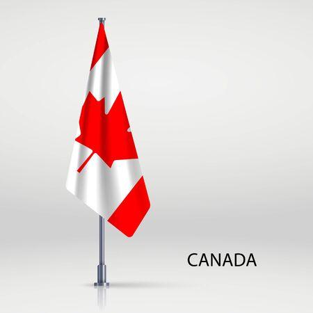 Canada hanging flag on flagpole