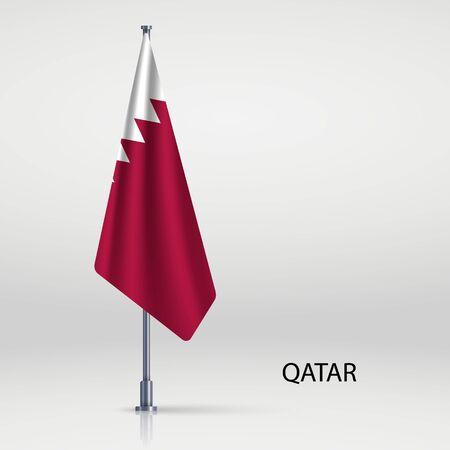 Qatar hanging flag on flagpole Ilustracja