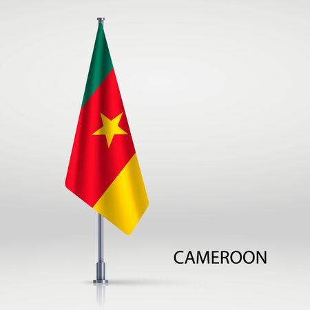 Cameroon hanging flag on flagpole Ilustracja