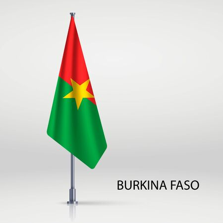 Burkina Faso hanging flag on flagpole