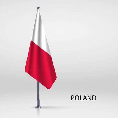 Poland hanging flag on flagpole