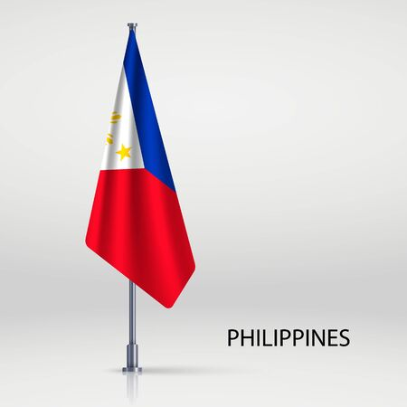 Philippines hanging flag on flagpole Vectores