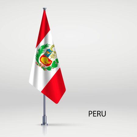 Peru hanging flag on flagpole Vector Illustratie