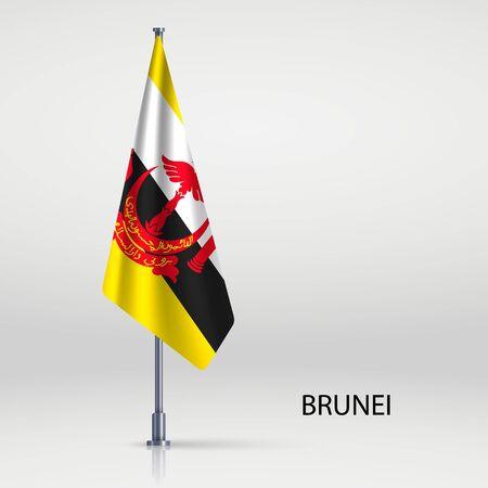 Brunei hanging flag on flagpole