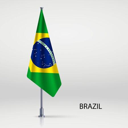 Brazil hanging flag on flagpole