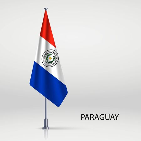 Paraguay hanging flag on flagpole Ilustracja