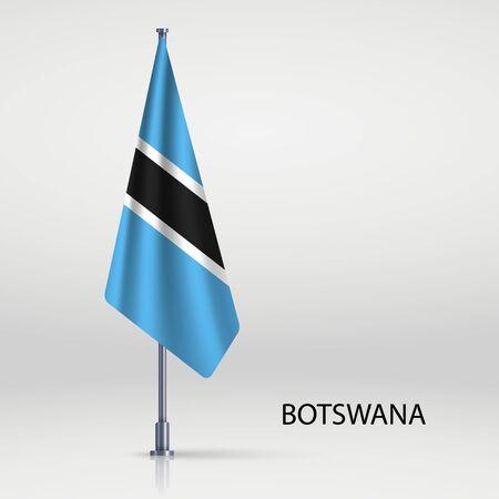 Botswana hanging flag on flagpole