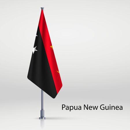 Papua New Guinea hanging flag on flagpole Ilustracja