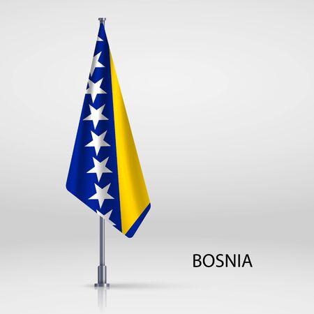 Bosnia hanging flag on flagpole