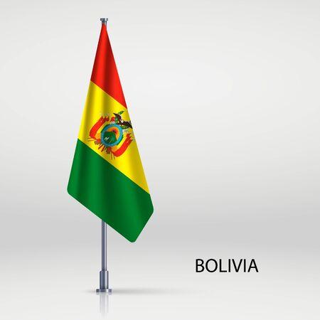 Bolivia hanging flag on flagpole
