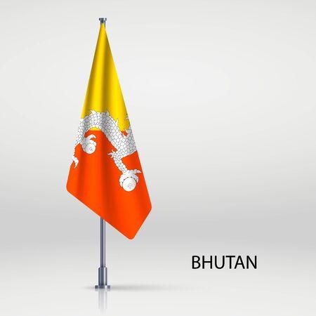 Bhutan hanging flag on flagpole Ilustracja
