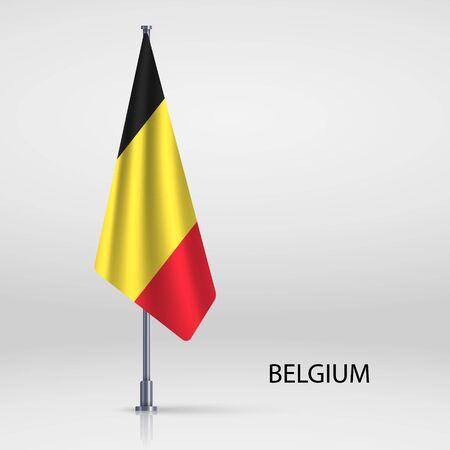 Belgium hanging flag on flagpole