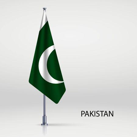 Pakistan hanging flag on flagpole Ilustracja