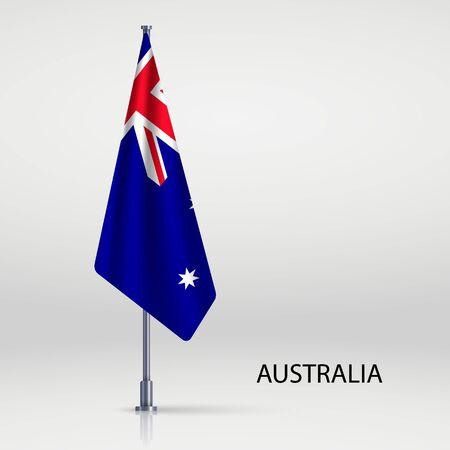 Australia hanging flag on flagpole Ilustracja