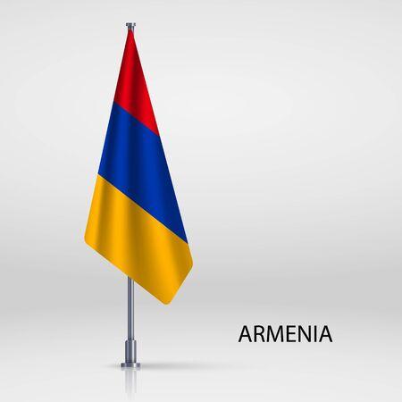 Armenia hanging flag on flagpole