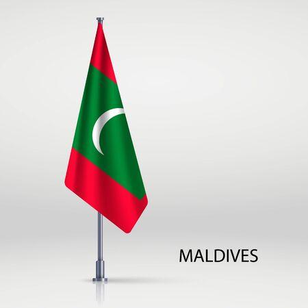 Maldives hanging flag on flagpole Ilustracja