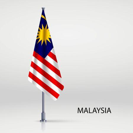 Malaysia hanging flag on flagpole Ilustracja
