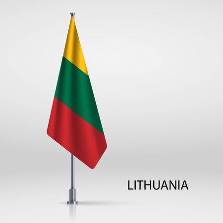 Lithuania hanging flag on flagpole Ilustracja