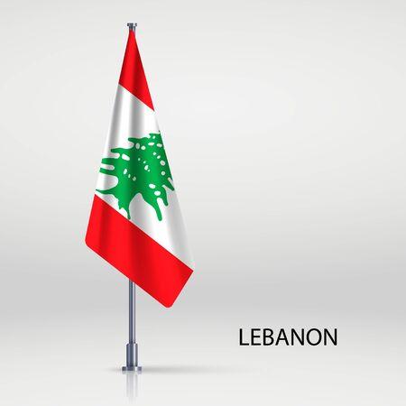 Lebanon hanging flag on flagpole Ilustracja