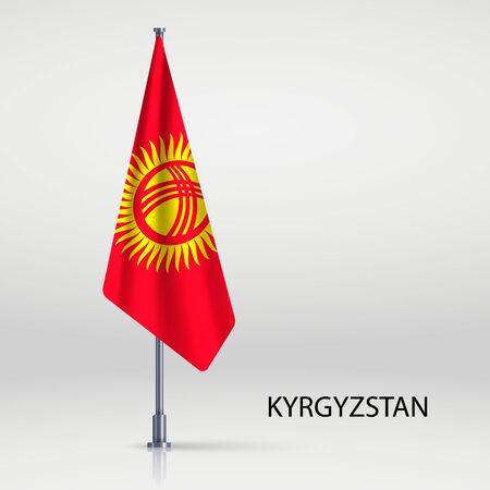 Kyrgyzstan hanging flag on flagpole