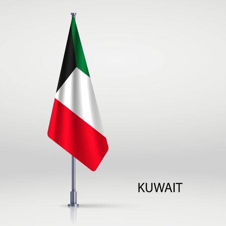 Kuwait hanging flag on flagpole