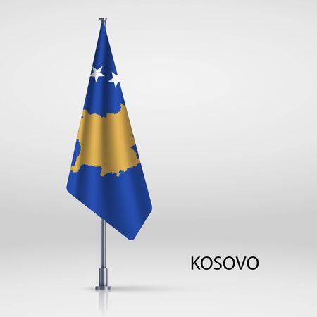 Kosovo hanging flag on flagpole Vectores