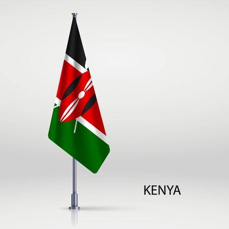 Kenya hanging flag on flagpole
