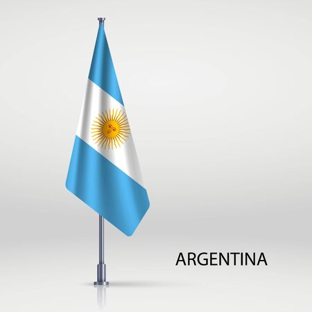 Argentina hanging flag on flagpole Ilustracja