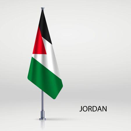 Jordan hanging flag on flagpole Ilustracja