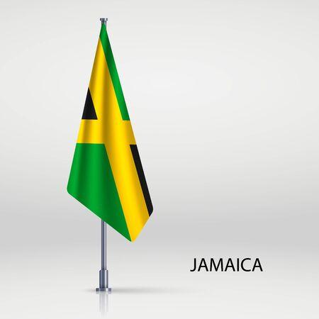 Jamaica hanging flag on flagpole