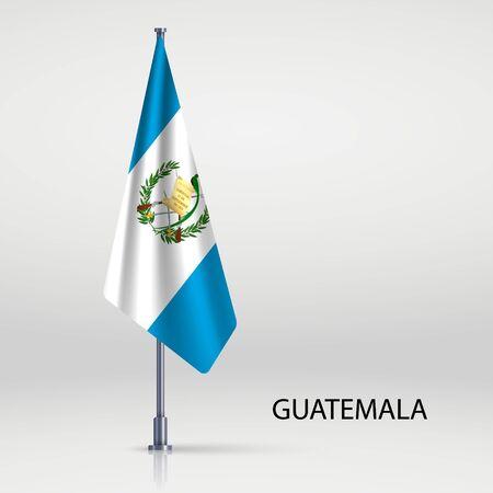 Guatemala hanging flag on flagpole Ilustracja