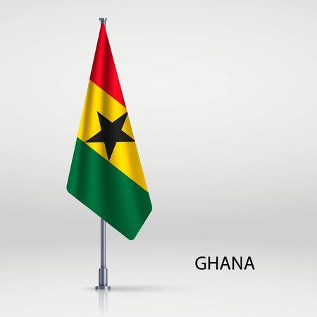 Ghana hanging flag on flagpole Ilustracja