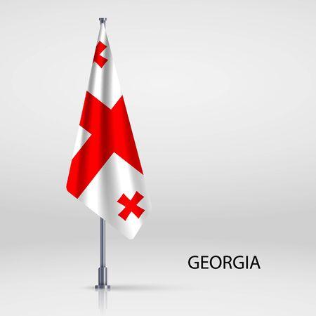 Georgia hanging flag on flagpole Ilustracja