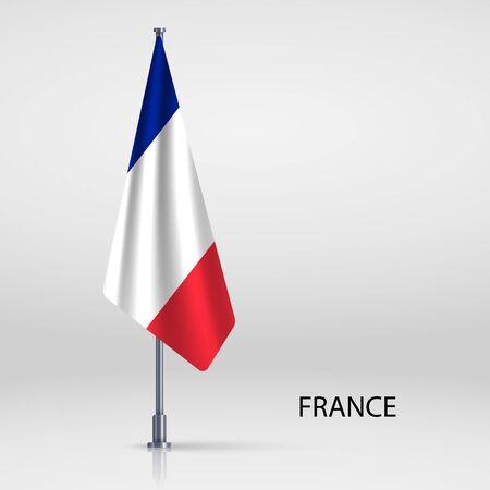 France hanging flag on flagpole