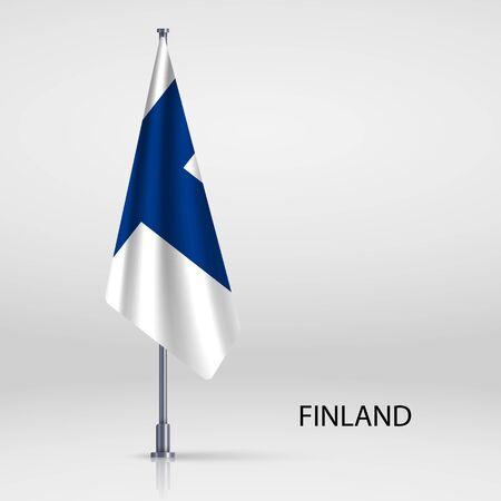 Finland hanging flag on flagpole Ilustracja