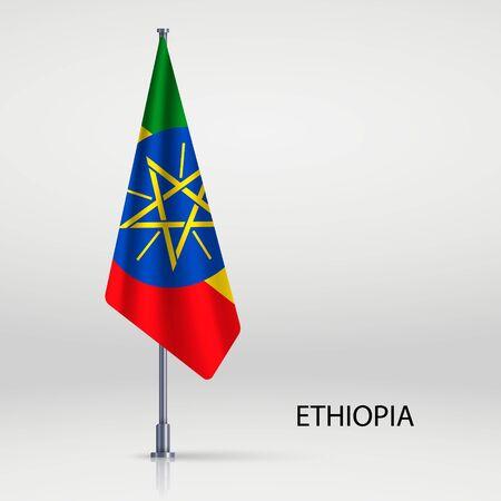 Ethiopia hanging flag on flagpole