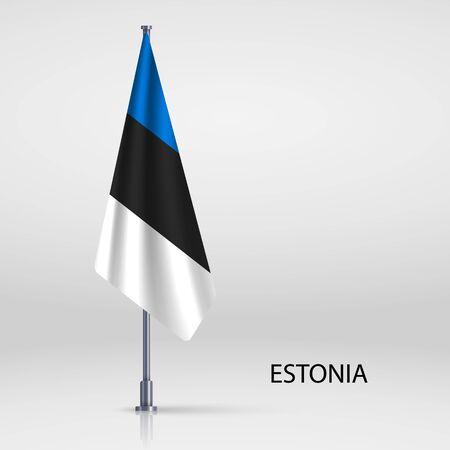 Estonia hanging flag on flagpole Ilustracja