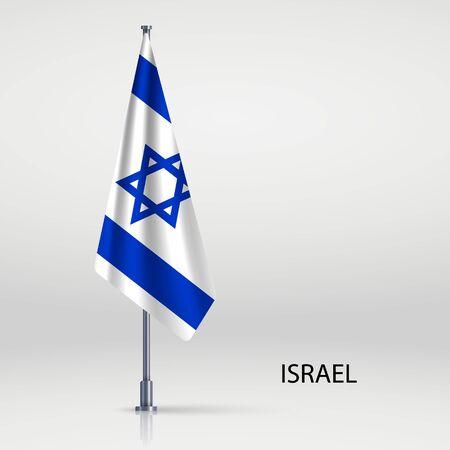 Israel hanging flag on flagpole Ilustracja