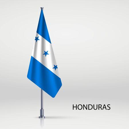 Honduras hanging flag on flagpole Ilustracja