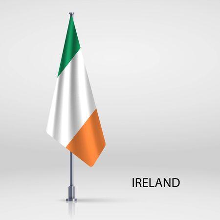 Ireland hanging flag on flagpole Ilustracja