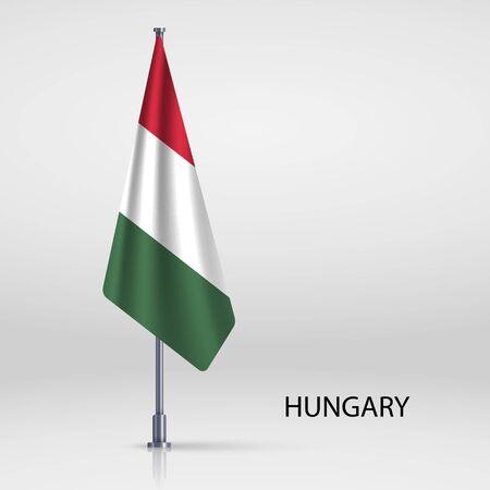 Hungary hanging flag on flagpole Ilustracja